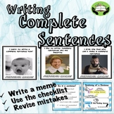 Writing Complete Sentences with Memes- NO PREP. PRACTICE FOR OLDER STUDENTS