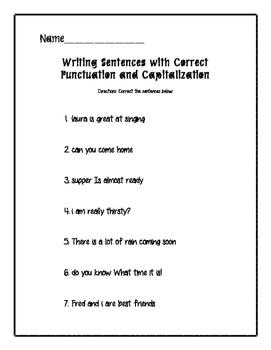 Writing Complete Sentences
