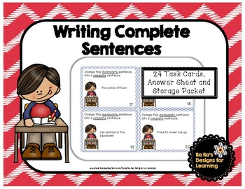 Writing Complete Sentences Task Cards
