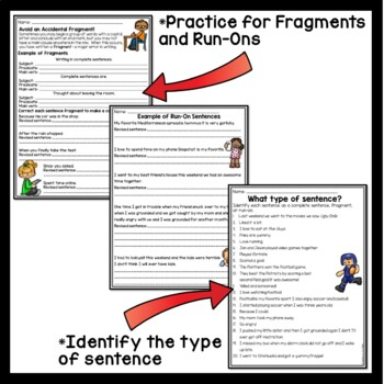 Writing Complete Sentences Tutorial & Practice Middle School, Fragments, Run-ons