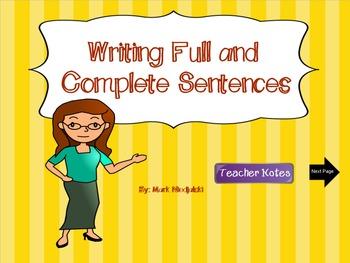 Writing Complete Sentences a Smartboard Lesson (Grammar)