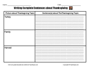 Writing Complete Sentences about Thanksgiving.  Thanksgiving Writing Assignment