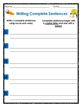 Writing Complete Sentences with Nouns, Verbs and Adjectives