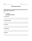 Writing Complete Sentences worksheet