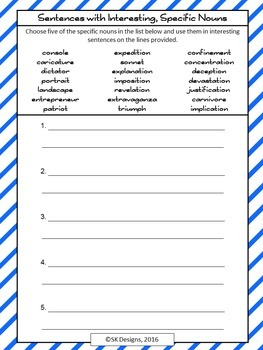 Writing Composition: Word Choice Nouns, Vocabulary Synonyms Printables