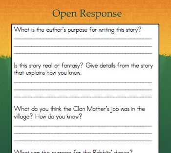 """Writing Comprehension Folktale Book/""""The Rabbit Dance"""" -  Common Core Aligned"""