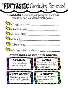 Writing Concluding Sentences ~ Posters and Student Writing Folder Resource!