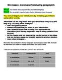 Writing Conclusions / Concluding Paragraphs - Mini-Lesson & Handout