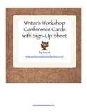 Writing Conference Cards and Sign-Up Sheet