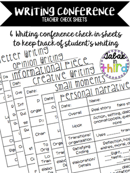 Writing Conference Check Sheets