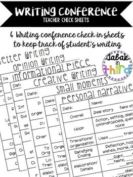 Writing Conference Check Sheets
