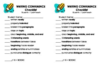 Writing Conference Checklist