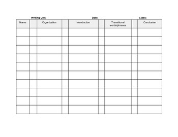 Writing Conference Class Recording Sheet