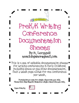 Writing Conference Documentation Forms for Early Childhood (Editable)