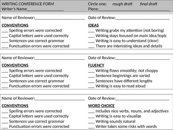 Writing Conference Form - 6+1 Traits of Writing