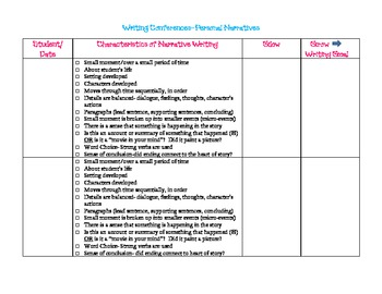 Writing Conference Form for Teachers- Personal Narratives