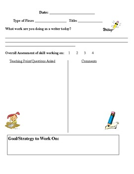 Writing Conference Forms for Writer's Workshop