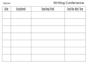 EDITABLE Writing Conference Logs