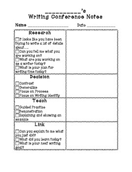 Writing Conference Notes - Research, Decision, Teach, Link