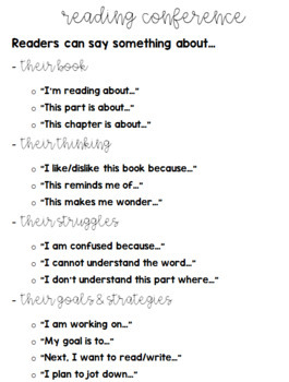 Reading & Writing Conference Notes / Sentence Stems