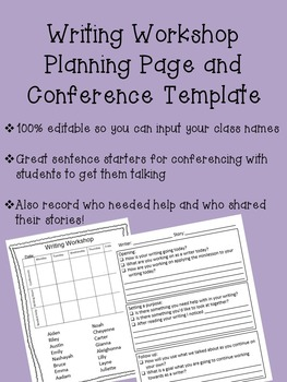 Writing Conference Planning Page
