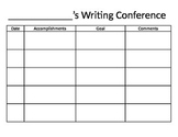 Writing Conference Recording Sheet