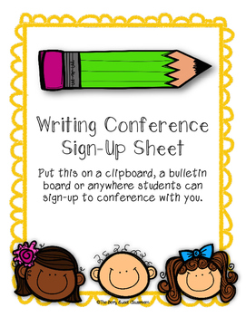 Writing Conference Sign-Up Sheet