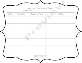 Writing Conference Teacher Notes Sheet