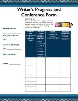 Writing Conference and Progress Tracking Form