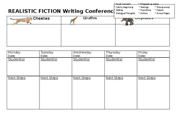 Writing Conferences Realistic Fiction
