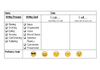 Writing Conferencing Goal Setting Template - Lower and Upper Primary School