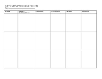 Writing Conferencing Record (Lucy Calkins) Bundle