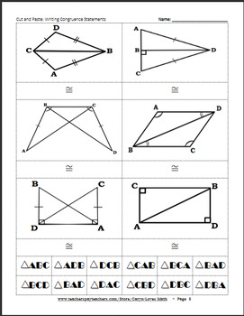 Writing Congruence Statements~Overlapping Triangles~Matching/Cut&Paste Activity