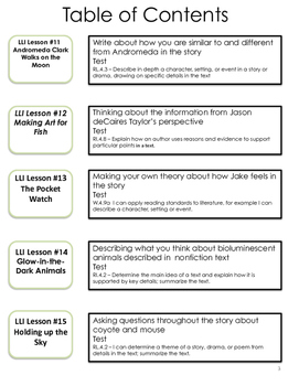 Writing Connections for Gold Leveled Literacy Lessons # 11-20