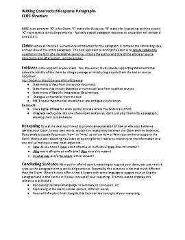 Writing Constructed Responoses - CERC Paragraphs