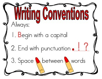 Writing Conventions Anchor Chart Freebie