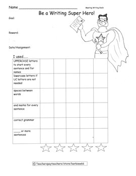 Writing Conventions Progress Chart: Writing and Language Goals: Inc Certificates
