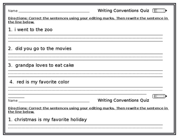 Writing Conventions Quiz