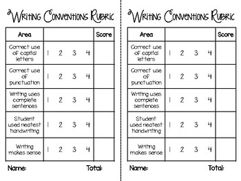 Writing Conventions Rubric and Checklist