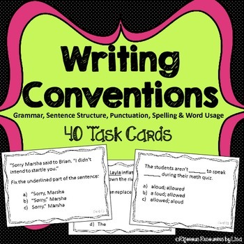 Writing Conventions Task Cards
