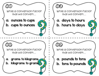 Writing Conversion Factors Task Cards Common Core Aligned