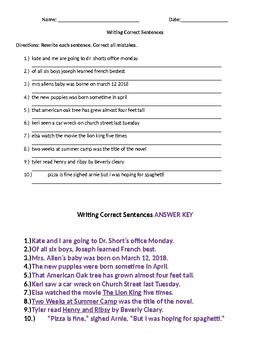 Writing Correct Sentences