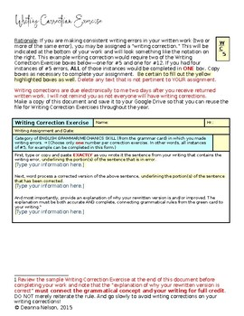 Writing Correction Exercise and Sample to Accompany Grammar and Style Card