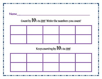 Writing Counting Skip Counting Numbers 1-100, 1-200 - Math Center