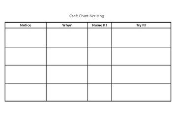 Writing Craft Noticing Chart