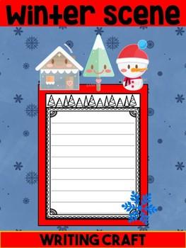 Writing Craft : Winter Scene - Jackie's Crafts, Snowman, Tree, House