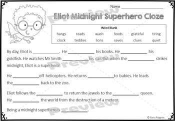 Writing Craftivity Eliot Midnight Superhero
