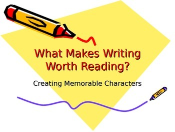 Writing- Creating Memorable Characters Power Point