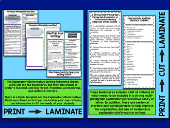 Writing Criteria Bookmarks and EDITABLE Reference Sheets Bundle-CCSS Aligned