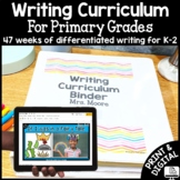 Writing Curriculum for Primary: Kindergarten, First, Second: Year Long Bundle